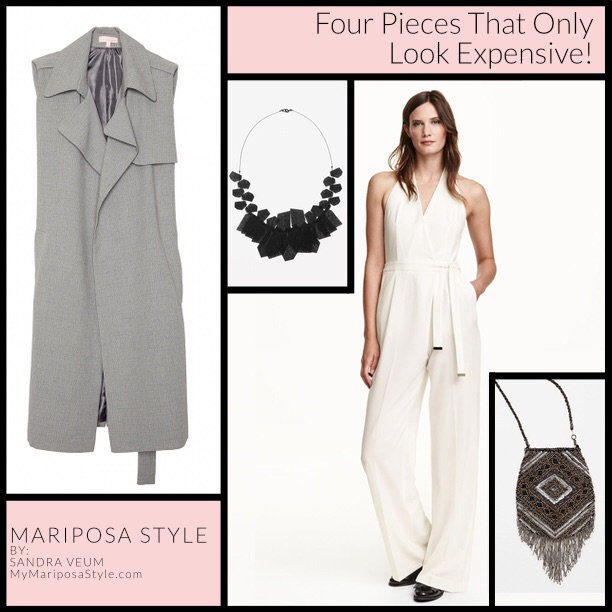 A Common Space, Minimal Gray Duster Trench, $78.00, Cos Stores, Perforated Plate Necklace, $59.00, H&M, Halterneck Jumpsuit, $59.99, ZARA, Fringed Bag, $49.90