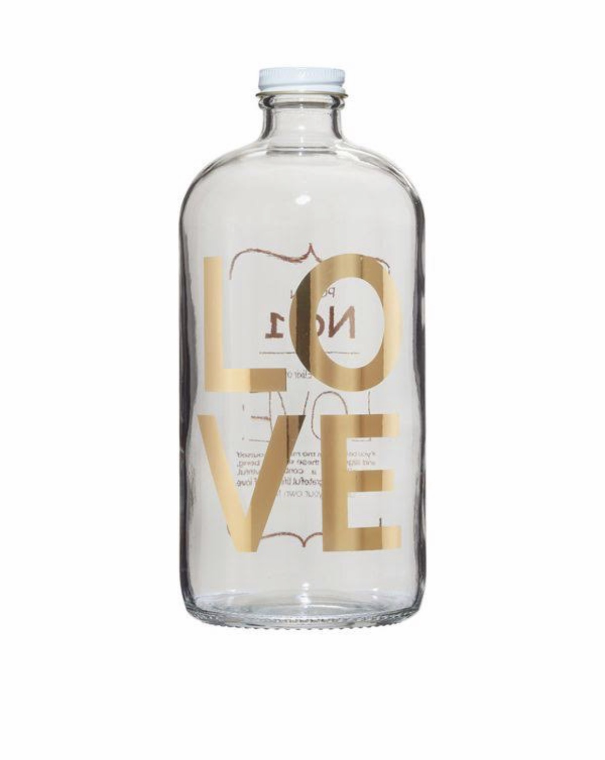 Love Potion No.1 Elixir Bottle... - Drink in your own helthy mixes, or concoction with our chic line of clear elixir bottles with modern gold leaf and white cap.