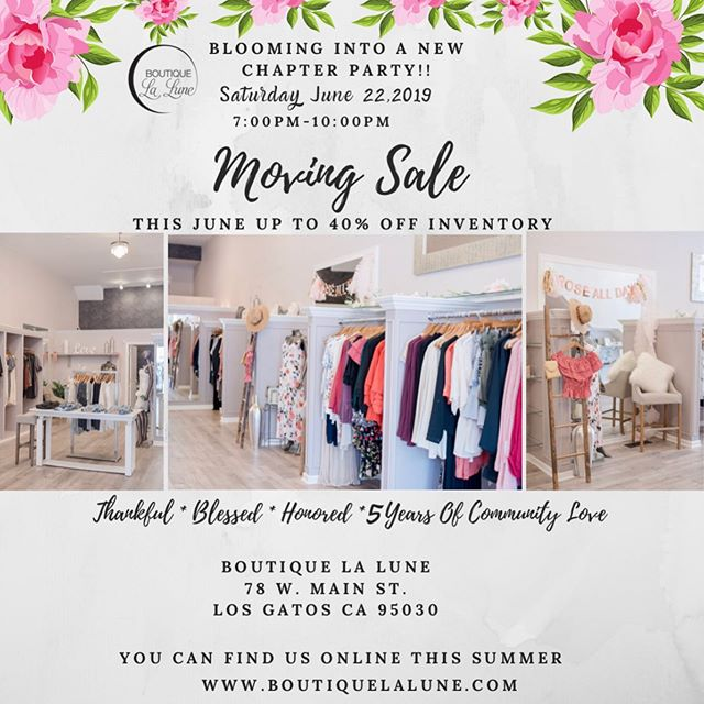 ✨🛍💛Moving Sale✨ ✨Last Official Weekend✨ •This weekend Starting Saturday, June 22 Save Up To 40% Off The Entire Store. ✨Take An Extra 15% Off Sale Items That Are Already Marked Down!! ✨Stop by our 🌸Blooming Into A New Chapter🌸✨ Party!! We have absolutely loved being in LG this past five years it's been an absolute blessing, and we want to make you our community a part of our new journey! RSVP and get more deets by going to our get tickets tab on the front of our insta!!-XOXO