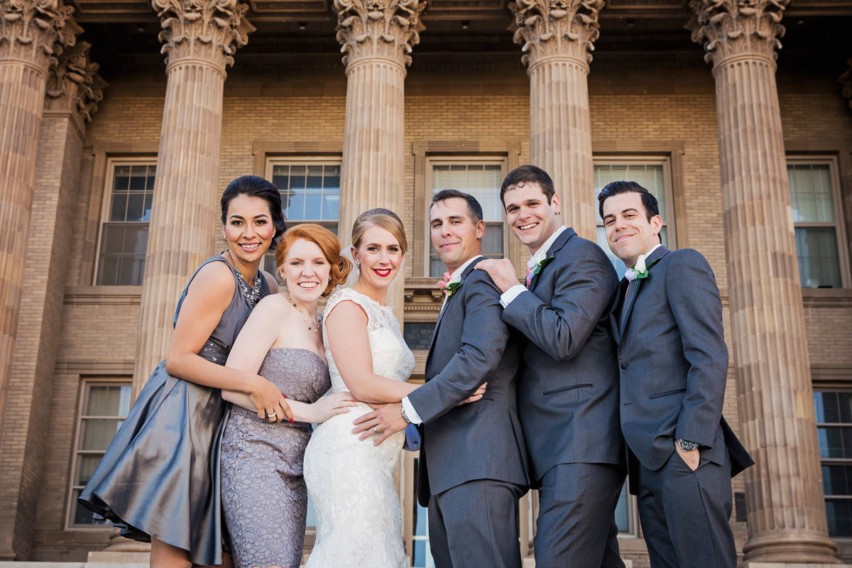 Wedding party with columns
