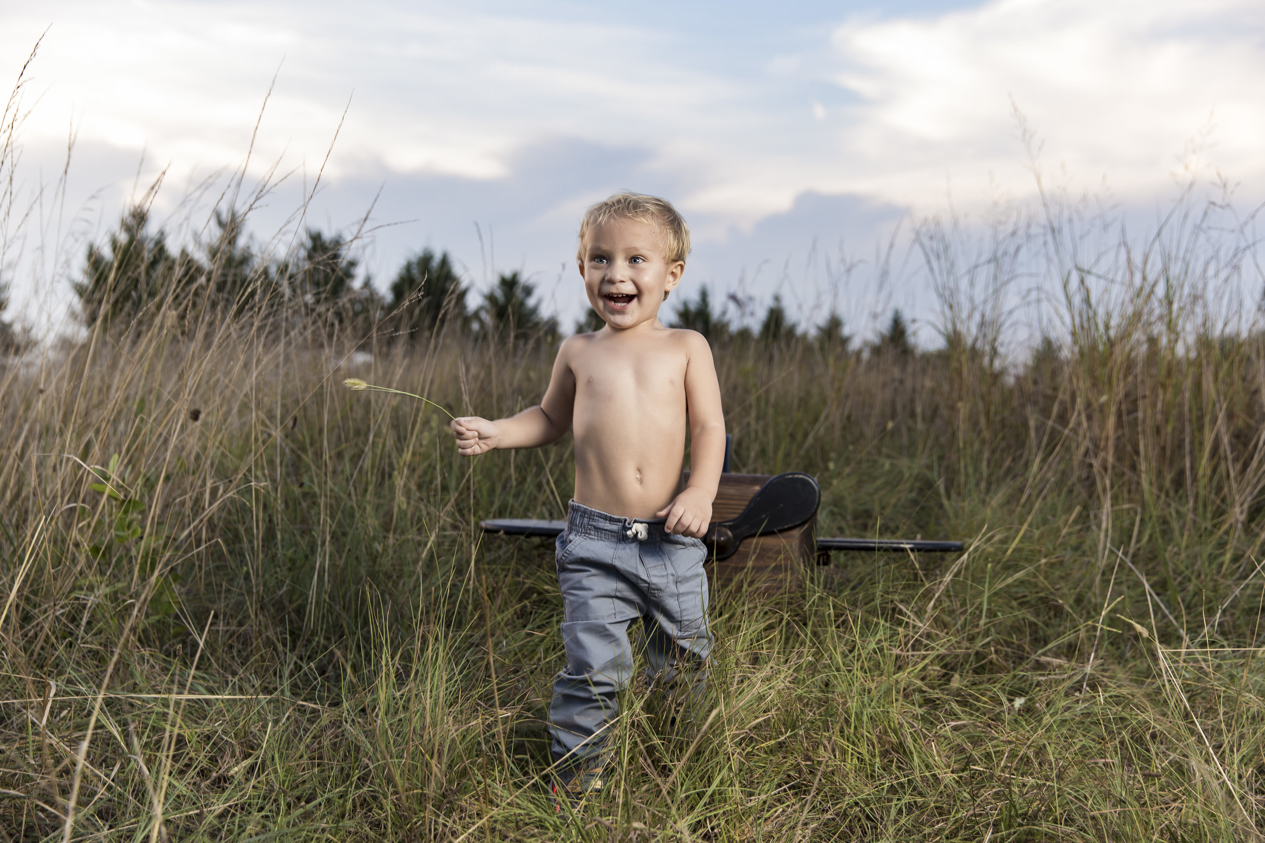Toddler in grassy field