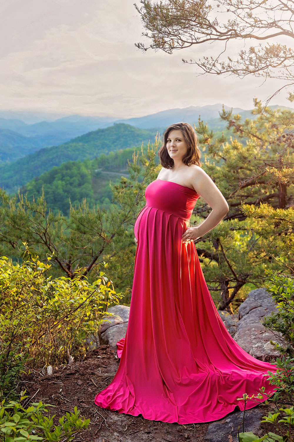 smoky-mountain-maternity-session-pink-gown.jpg