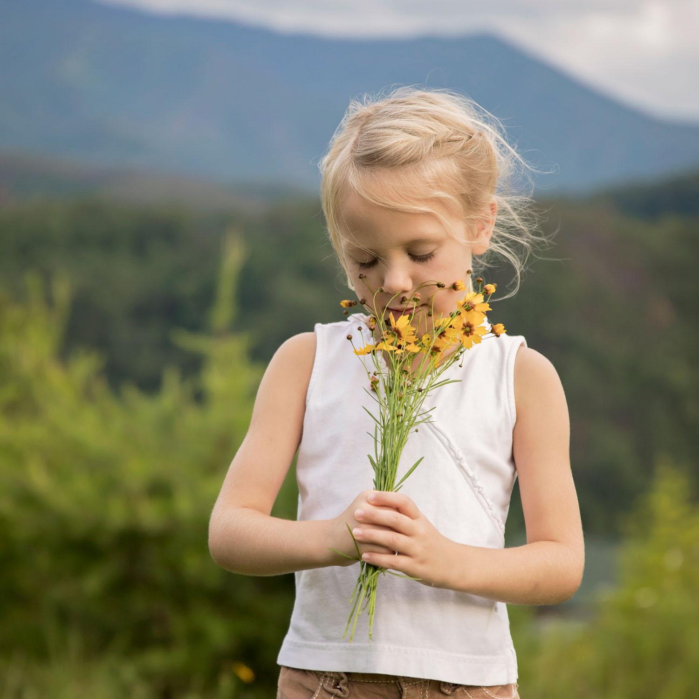 Little girl on mountaintop
