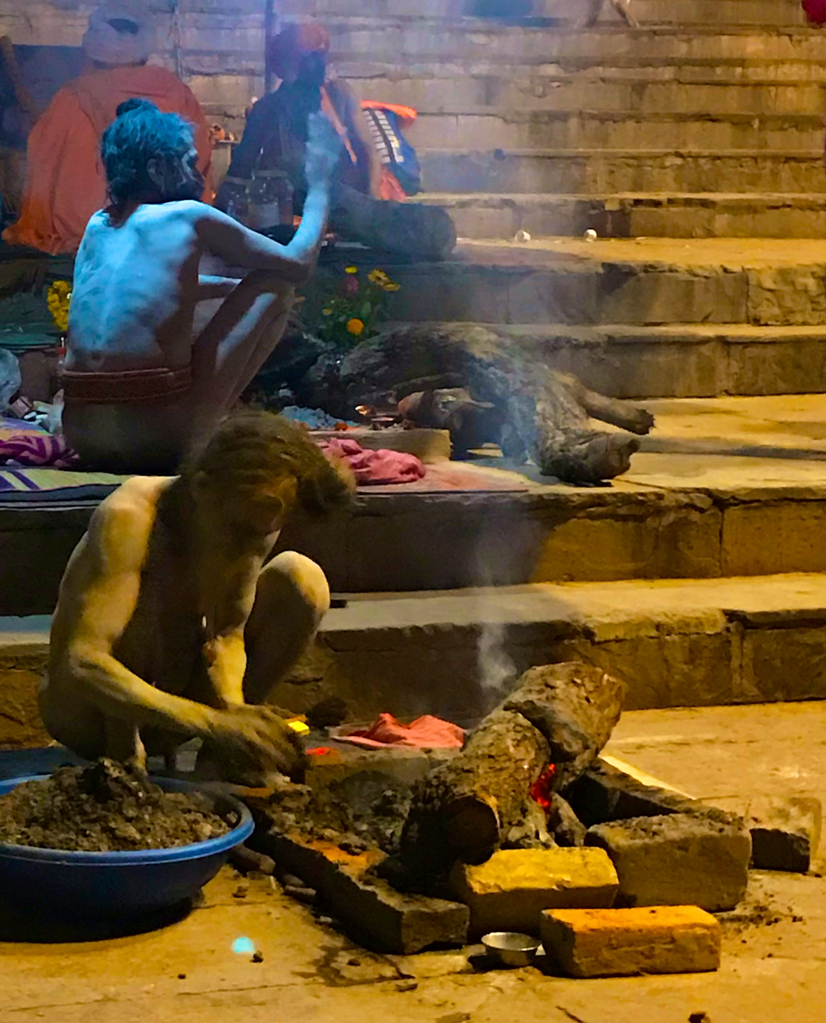 Sadhus in private ritual