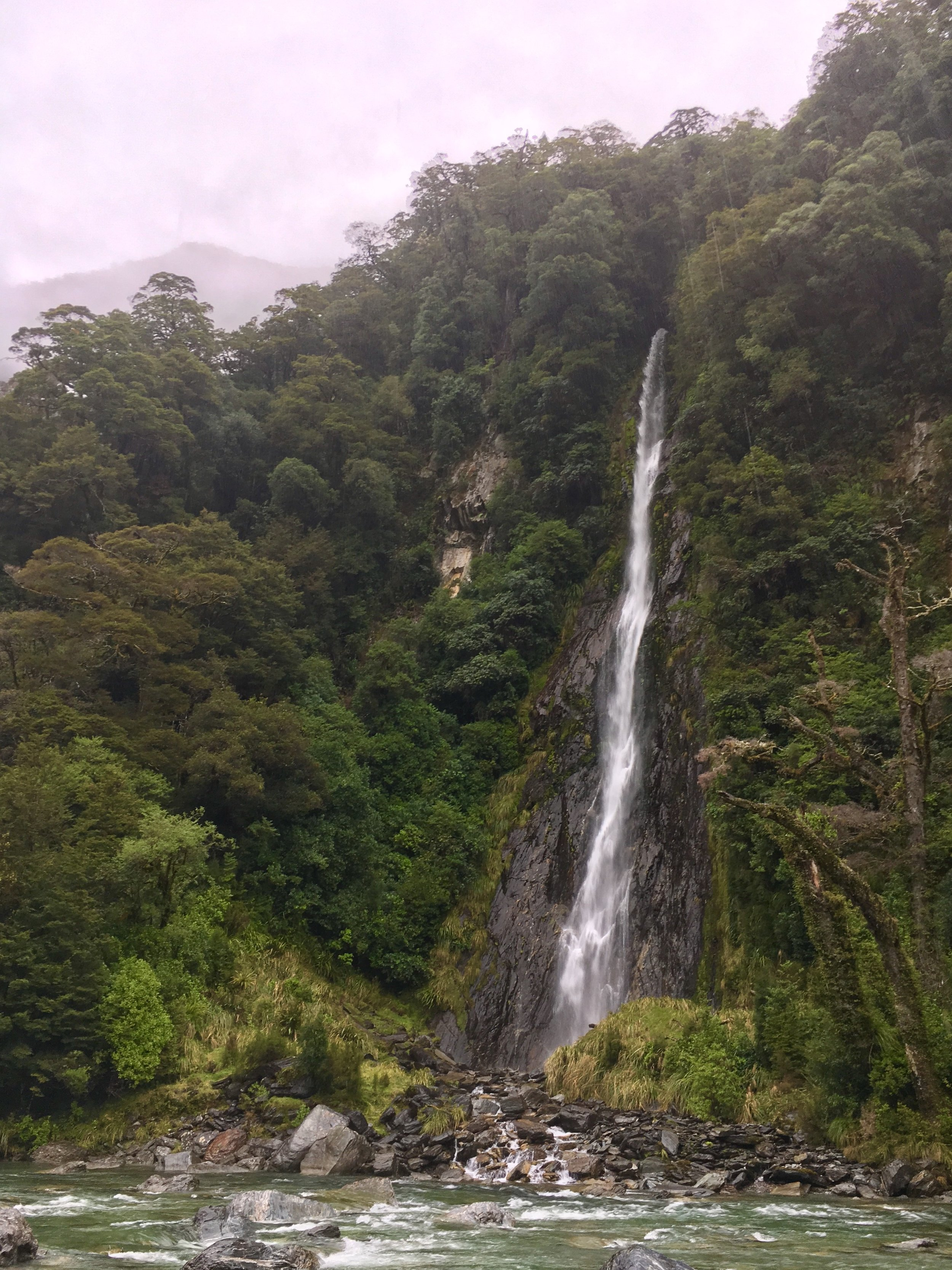 Waterfall after crossing the Haast pass