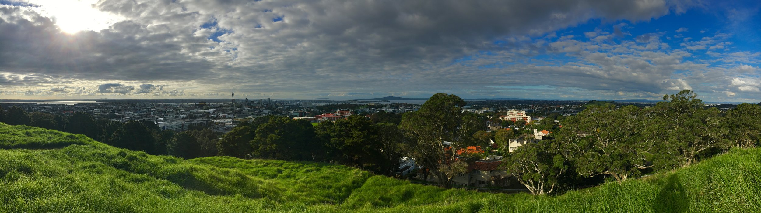 View from the highest point in Auckland, an old volcano