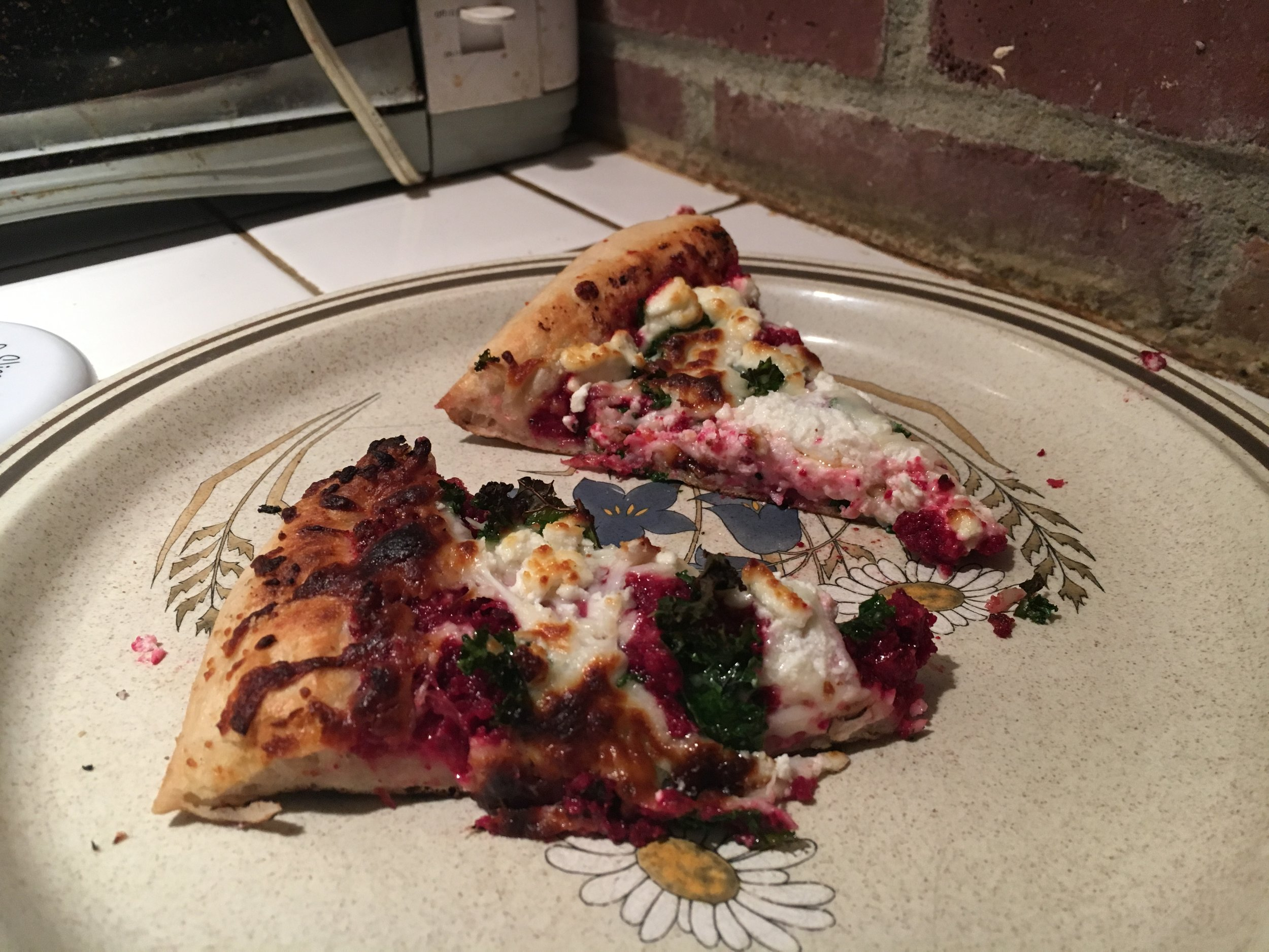 Purple Pizza, toasty goat cheese goodness.