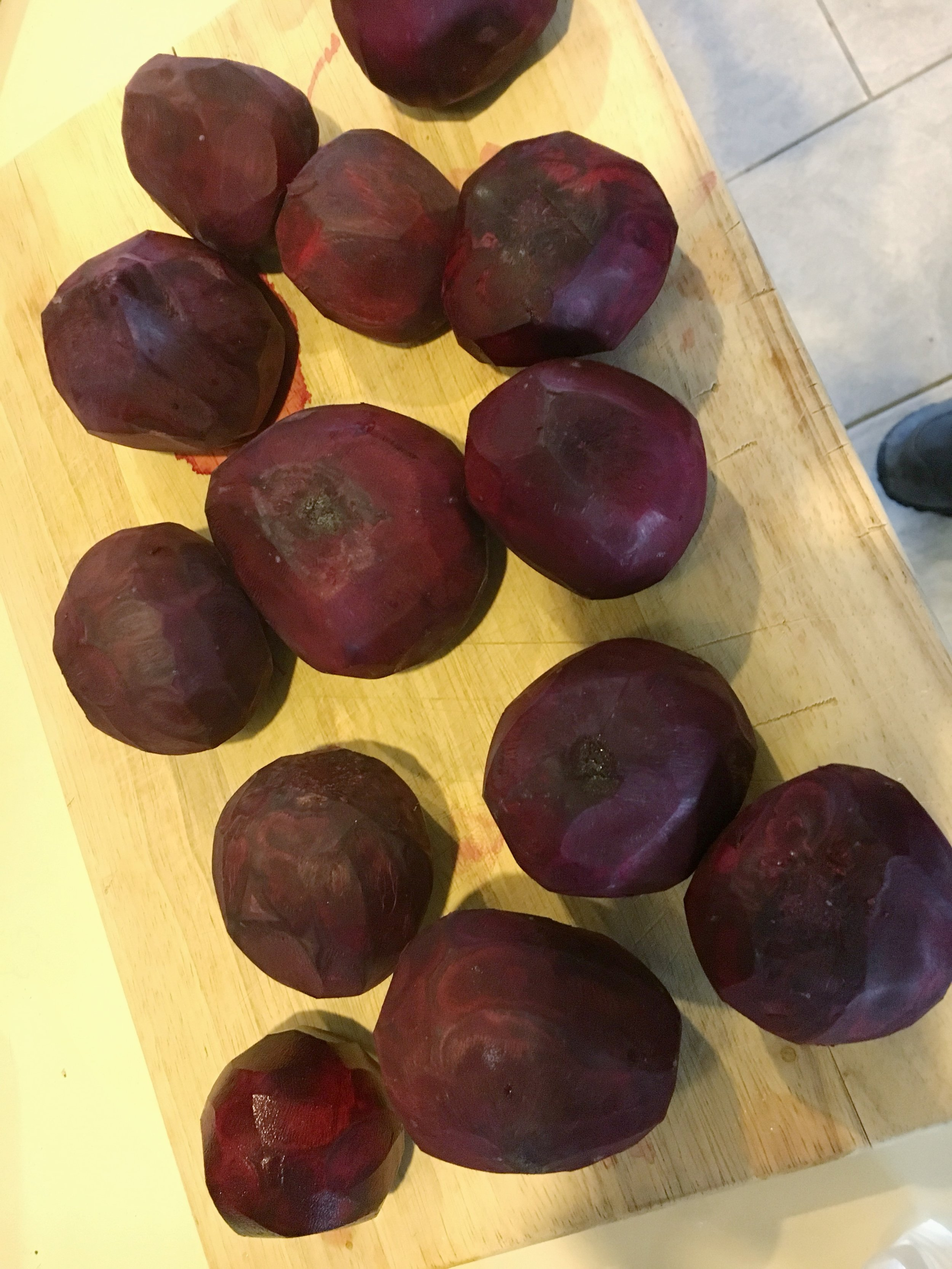 Peeled beets can get messy, but at least they don't seem to stain.
