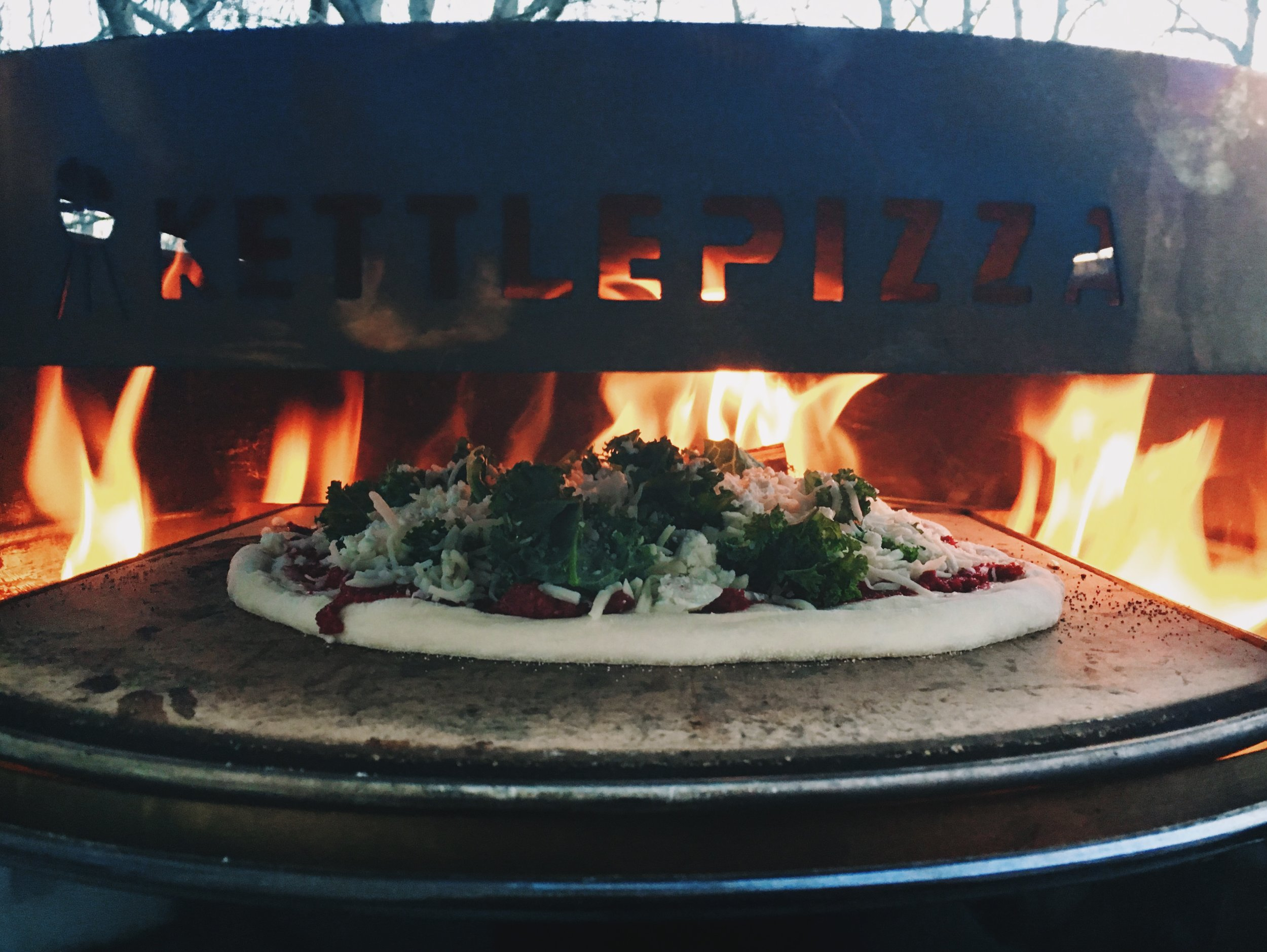 Two of my loves, pizza and fire.