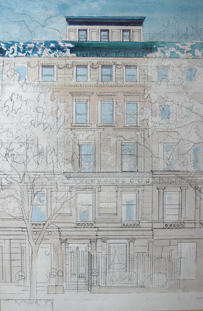 Watercolor painting of NYC townhouse