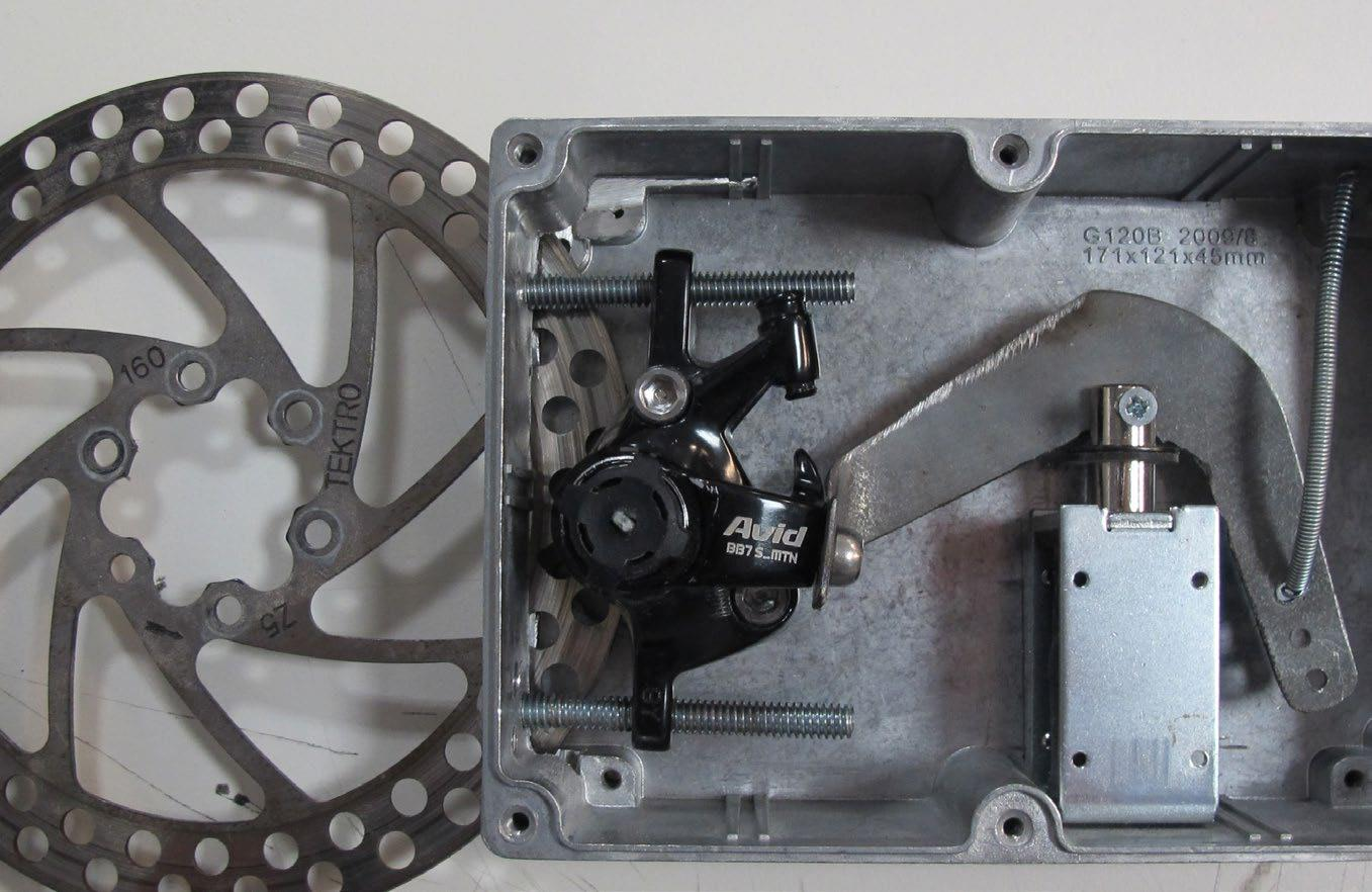 Prototyping using OEM parts increases speed when testing to fail. In this case the breakassembly was proven difficult to achieve due to the fine tolerances required and imense forces involved. Although functional, this prototype highlighted the need for a simpler solution.