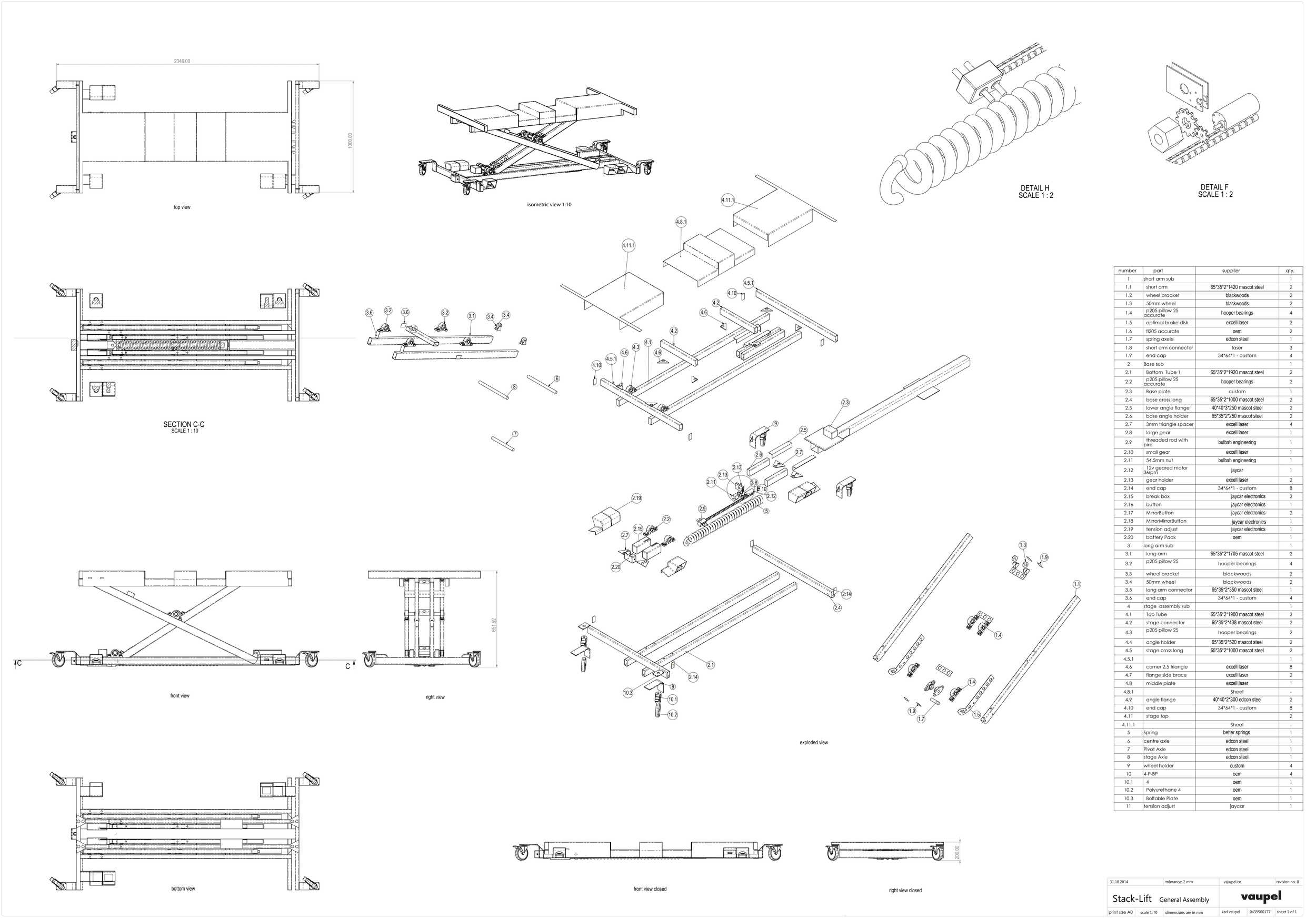 General Assembly of Parts for Stack-Lift Prototype 1