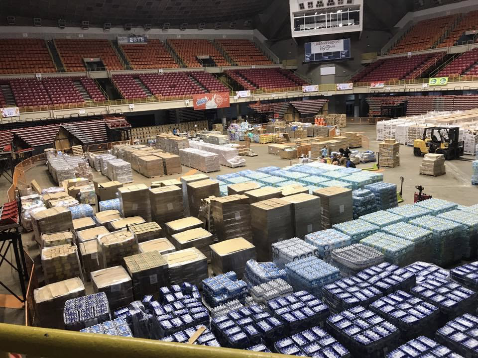 Supplies housed for San Juan residents in the stadium.