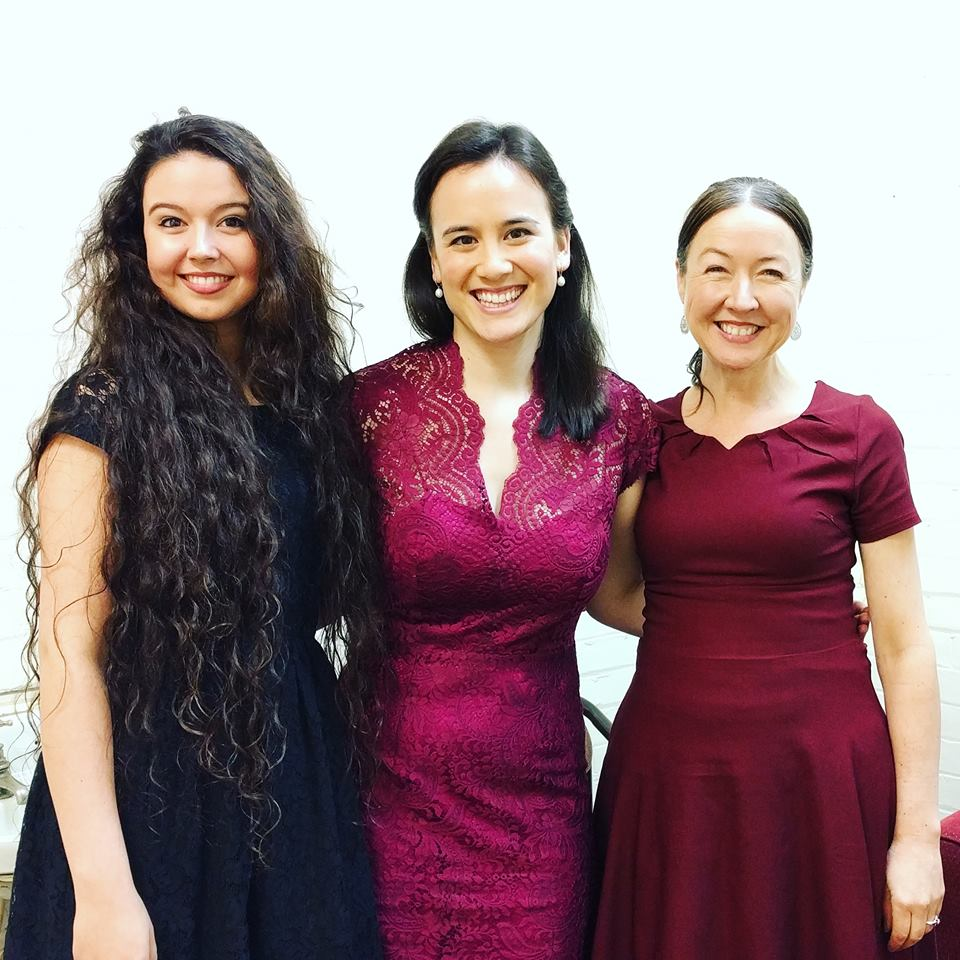Backstage with backing vocalists Audrey and Rosalia after the show.