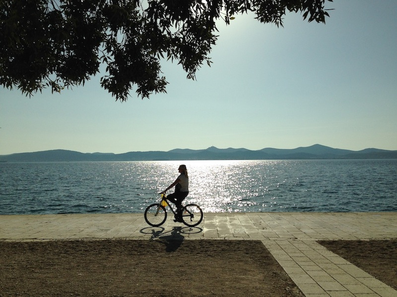 Enjoying the sunshine along the riva in Zadar.