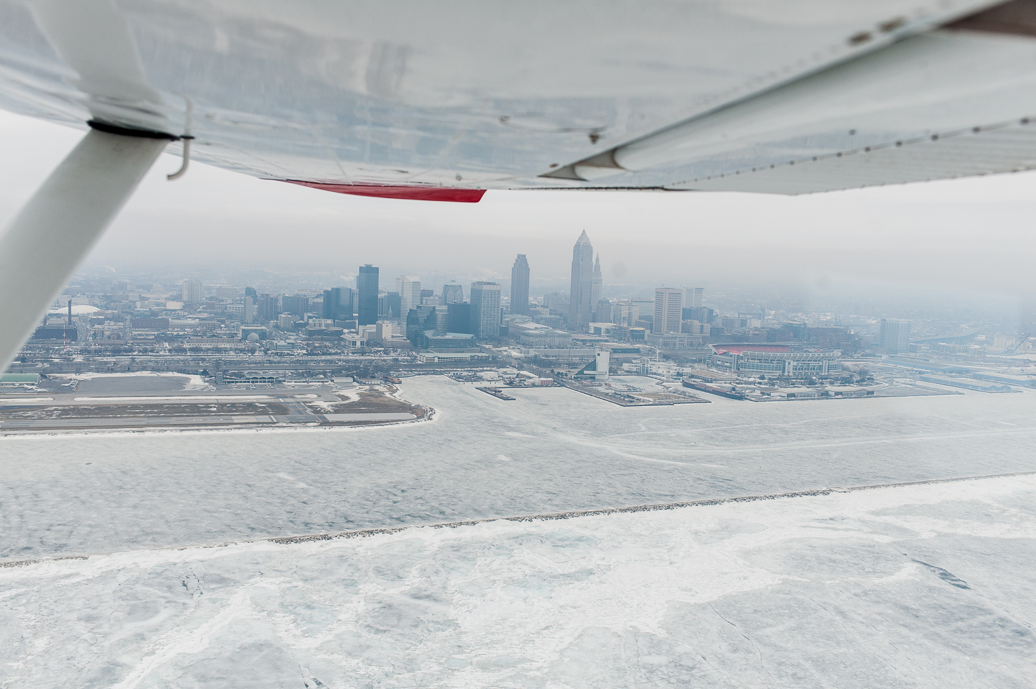 Flying by thevery cold and frozen city of Cleveland, Eastbound, heading for Burlington, Vermont, with a fuel stop along the way.