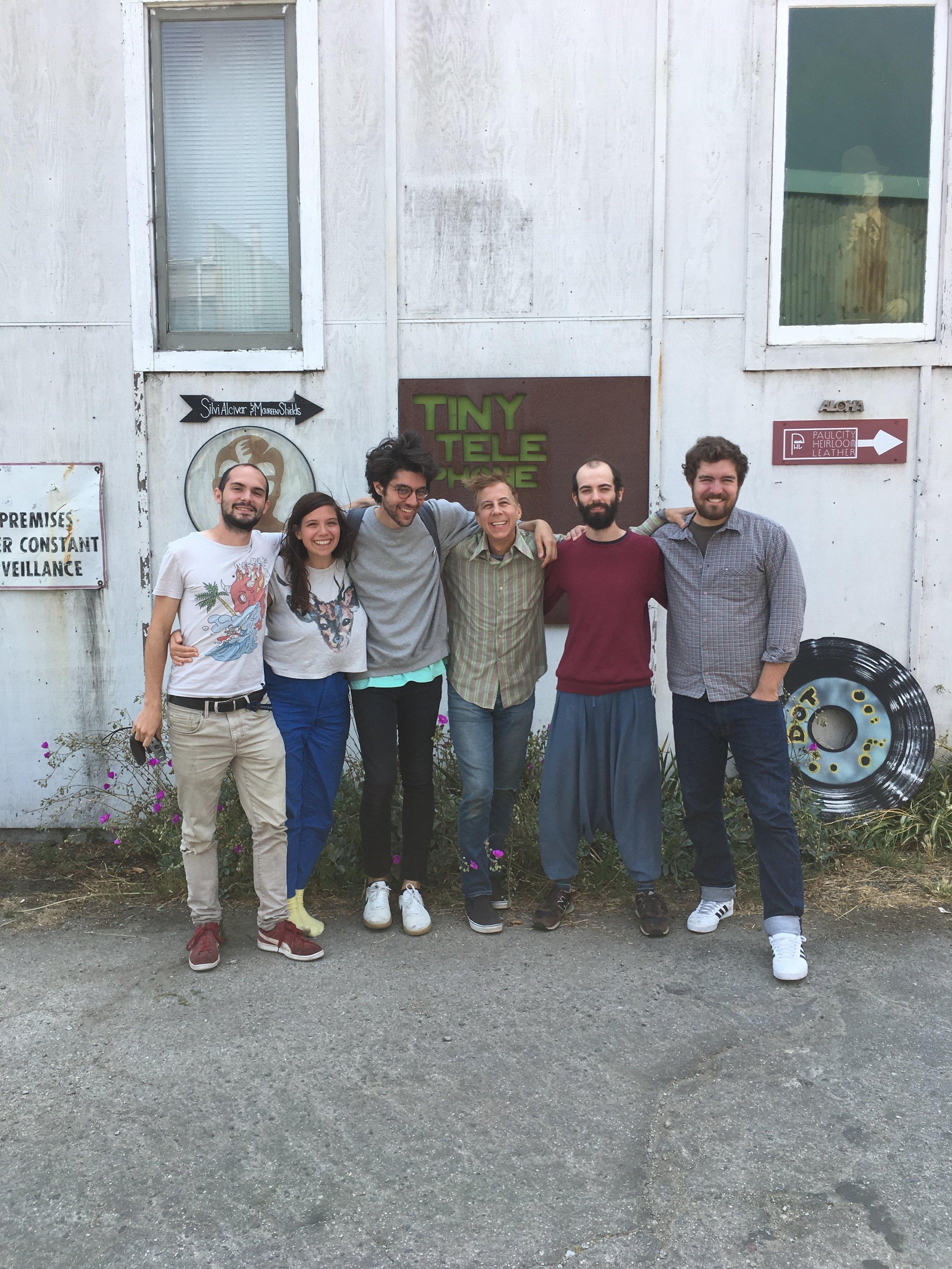 From left to right: Jeremie Revel, Gina Été, Omar Akrouche (engineer, assistant), John Vanderslice (producer), Noé Franklé, Phillip Klawitter