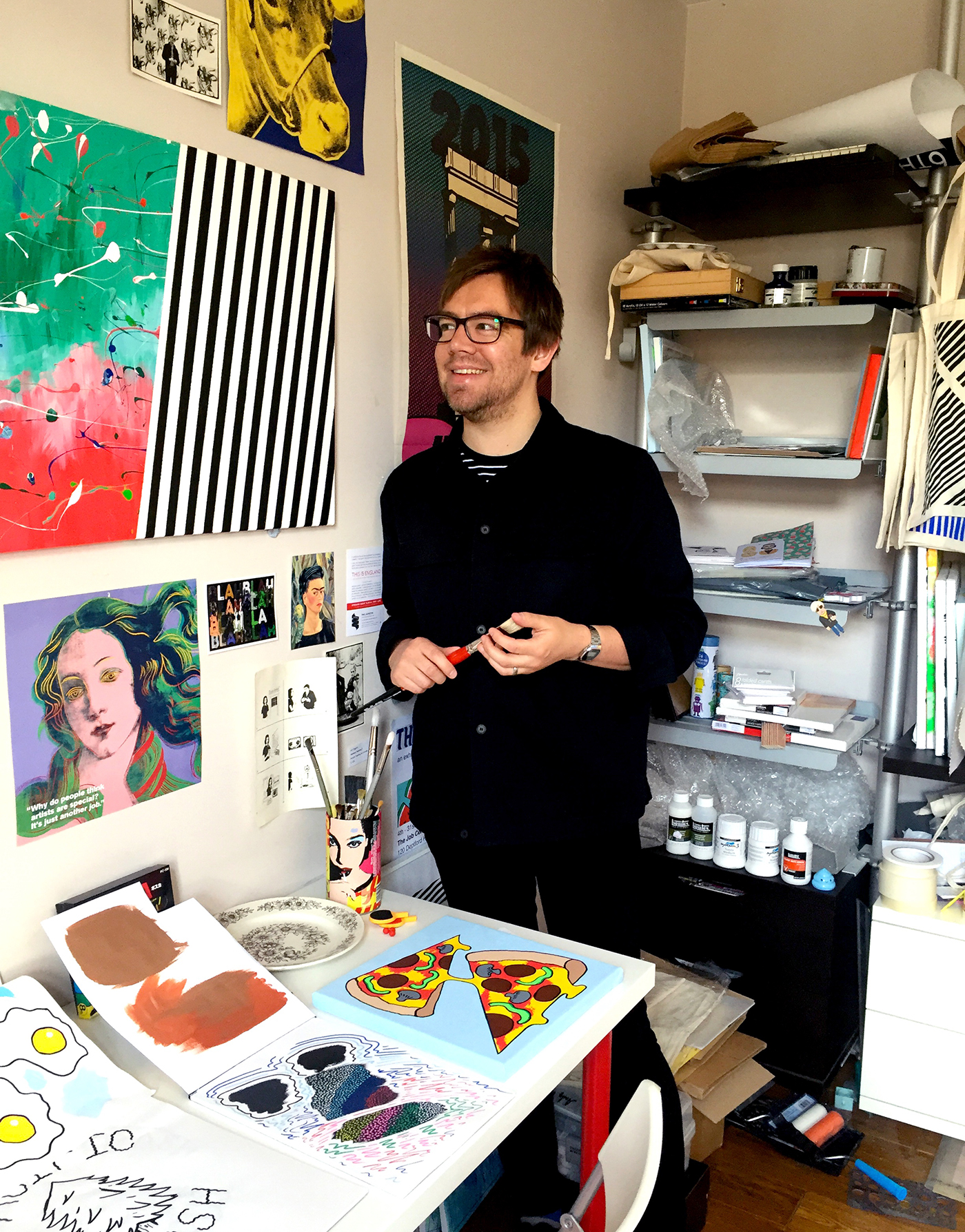 The artist pictured in his studio.