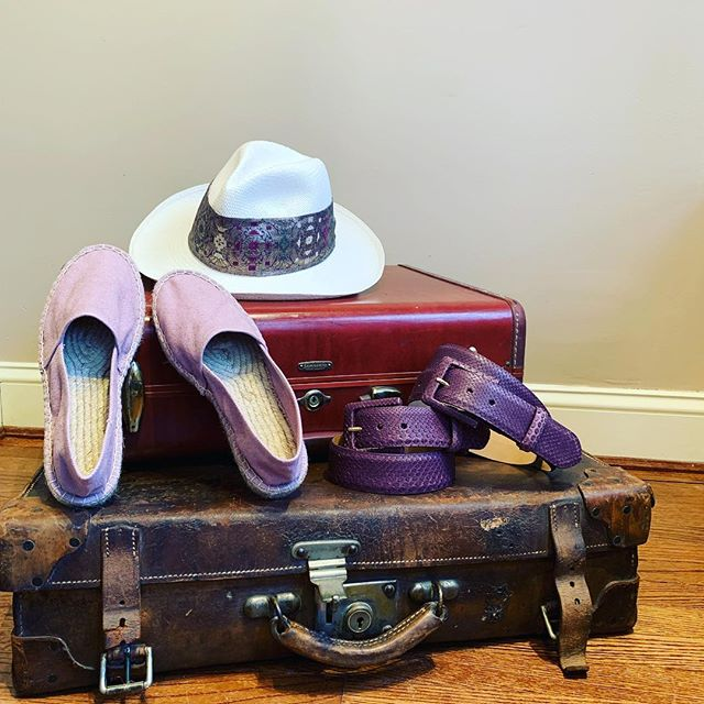 B O N  V O Y A G E . . . #ladiesfashion #espadrilles #panamahat #madeinspain #pythonbelt #madeinusa #travel #rose #shoes #belt #handmade #middleburg #virginia