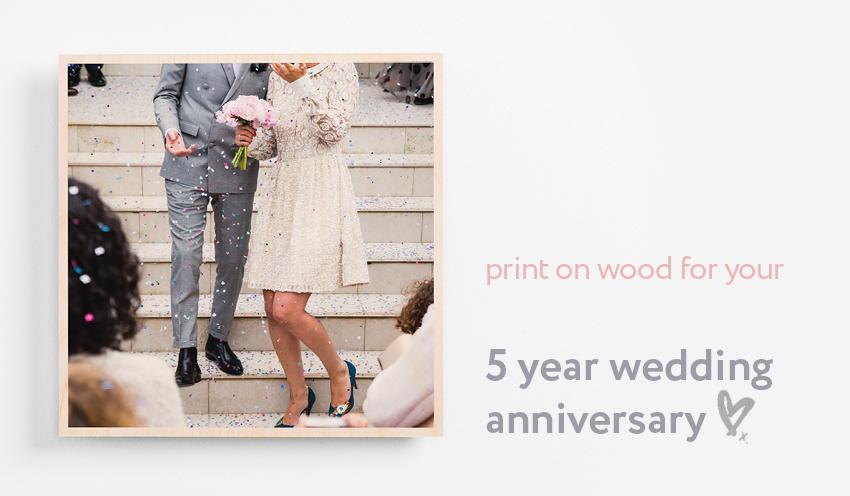 5 year wedding anniversary present printed on wood