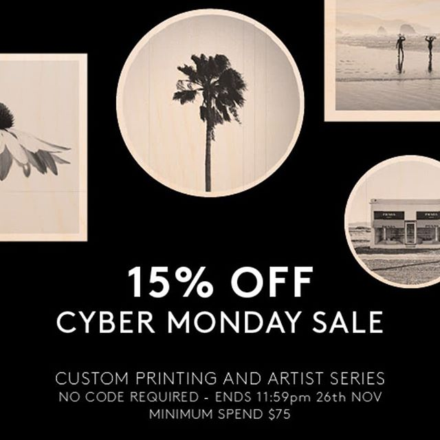 S A L E |  Cyber Monday 15% off for one day only. Our last sale before Christmas 🎄 discount automatically applied at checkout on orders over $75. Ends 11:59pm 26.11.18 . . . #lastsalebeforechristmas #cybermonday #saletime #sale #christmasgifting #christmasshopping #woodtowall #printonwood #woodprint #personalisedgift #personalisedart #australianart #australianmade