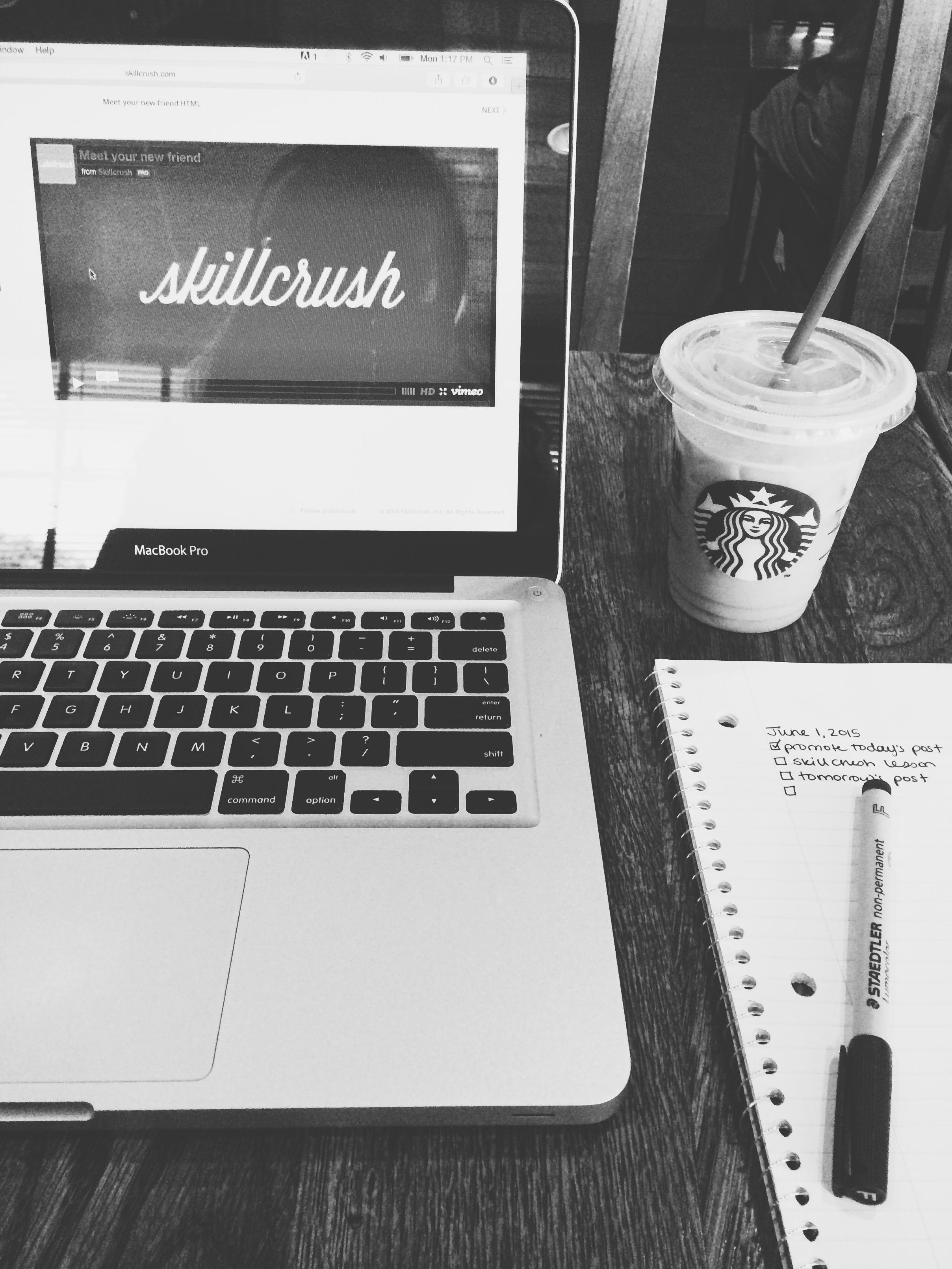 Skillcrush on computer at Starbucks