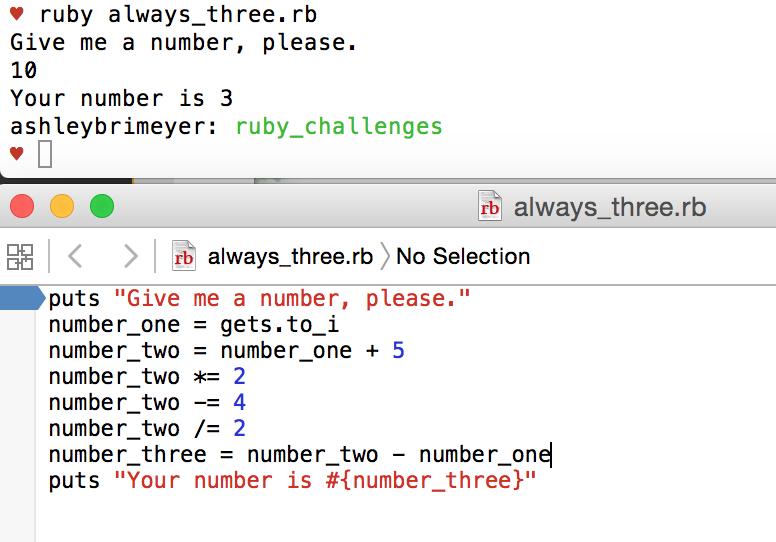 My first Ruby script | Always 3