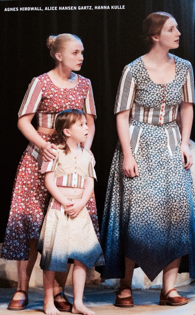 """Agnes Hirdwall, Hanna Kulle and Alice Hansen Gartz in """"A Time on Earth"""", Stockholm City Theatre. Photo credit: Lesley Leslie-Spinks"""