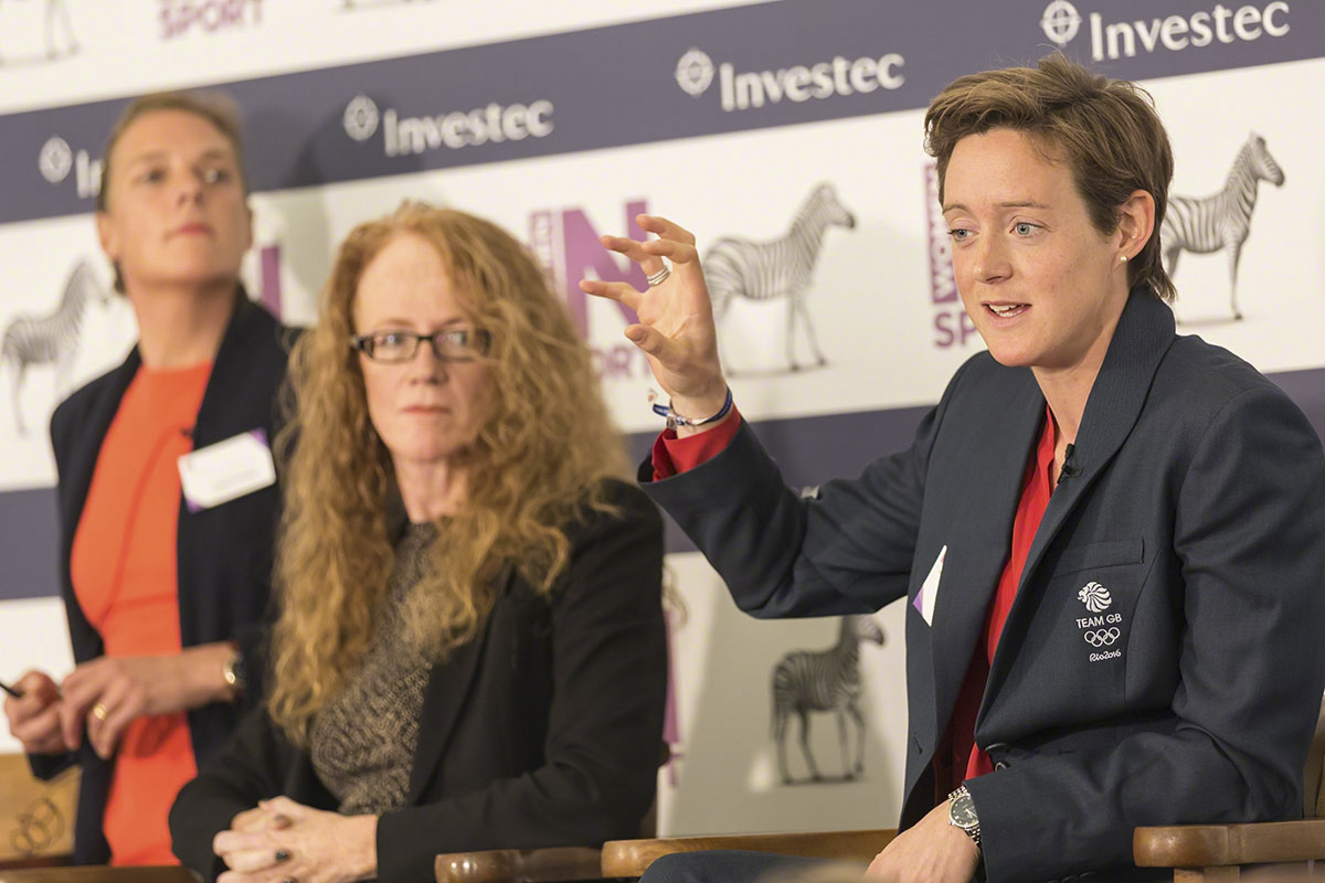 (L-R) Catherine Baker, Sally Hancock, Hannah Macleod  Women in Sport conference / Investec at Lord's Cricket Ground Pavilion  © Copyright 2017 Rebekah Taylor.All Rights Reserved.