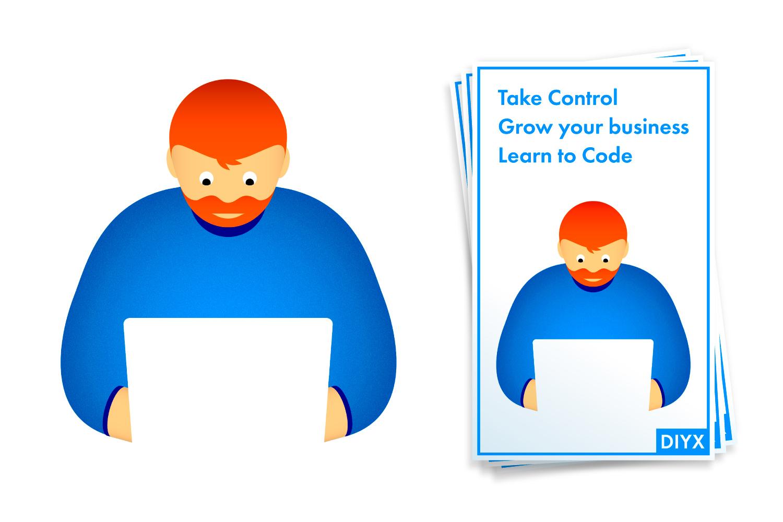 Illustration and design of flyer for DIYX, code workshops in Amsterdam.