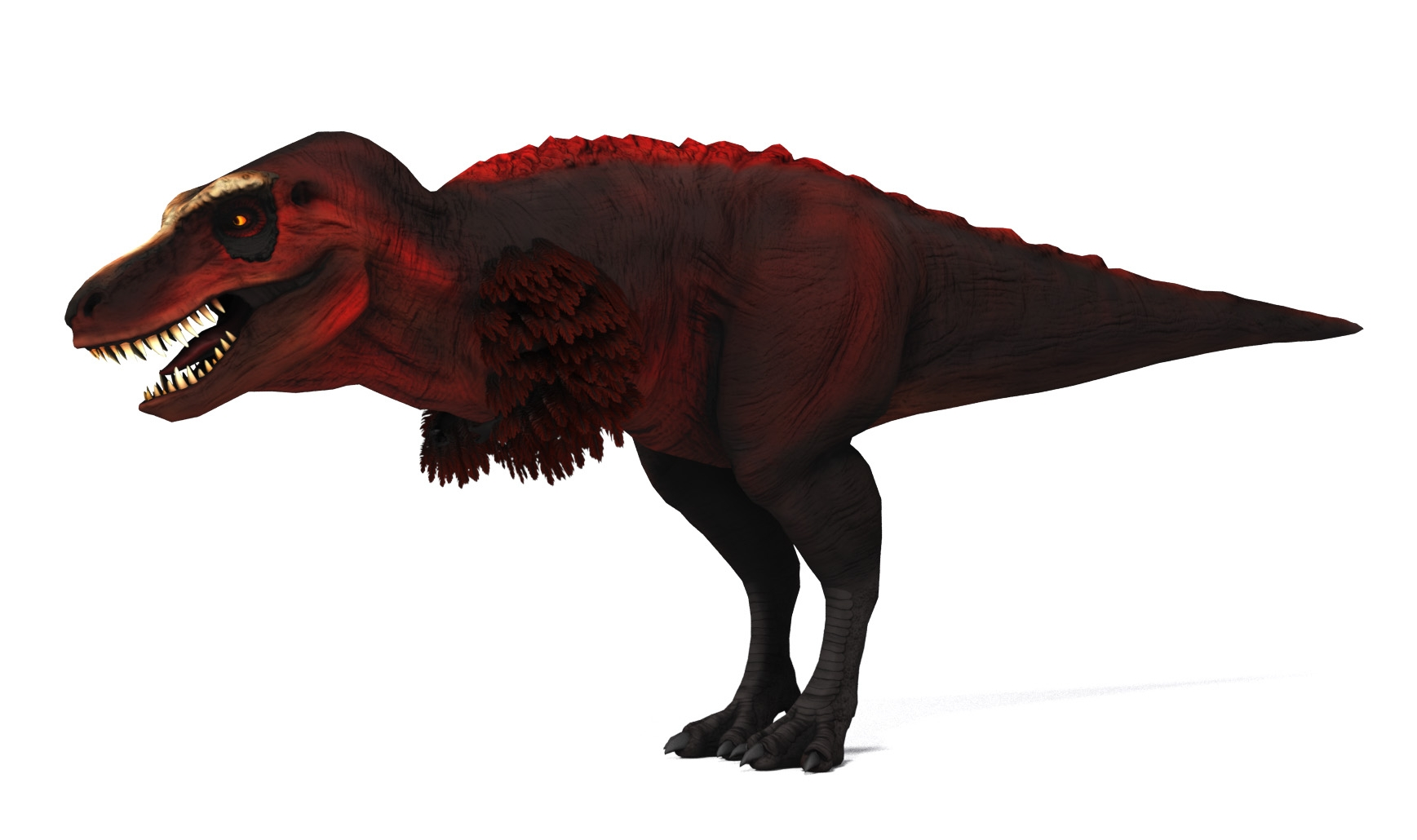 Intimidating Tyranasaurus with keratin face plate, feathered arms, and small fleshy backbone frill.
