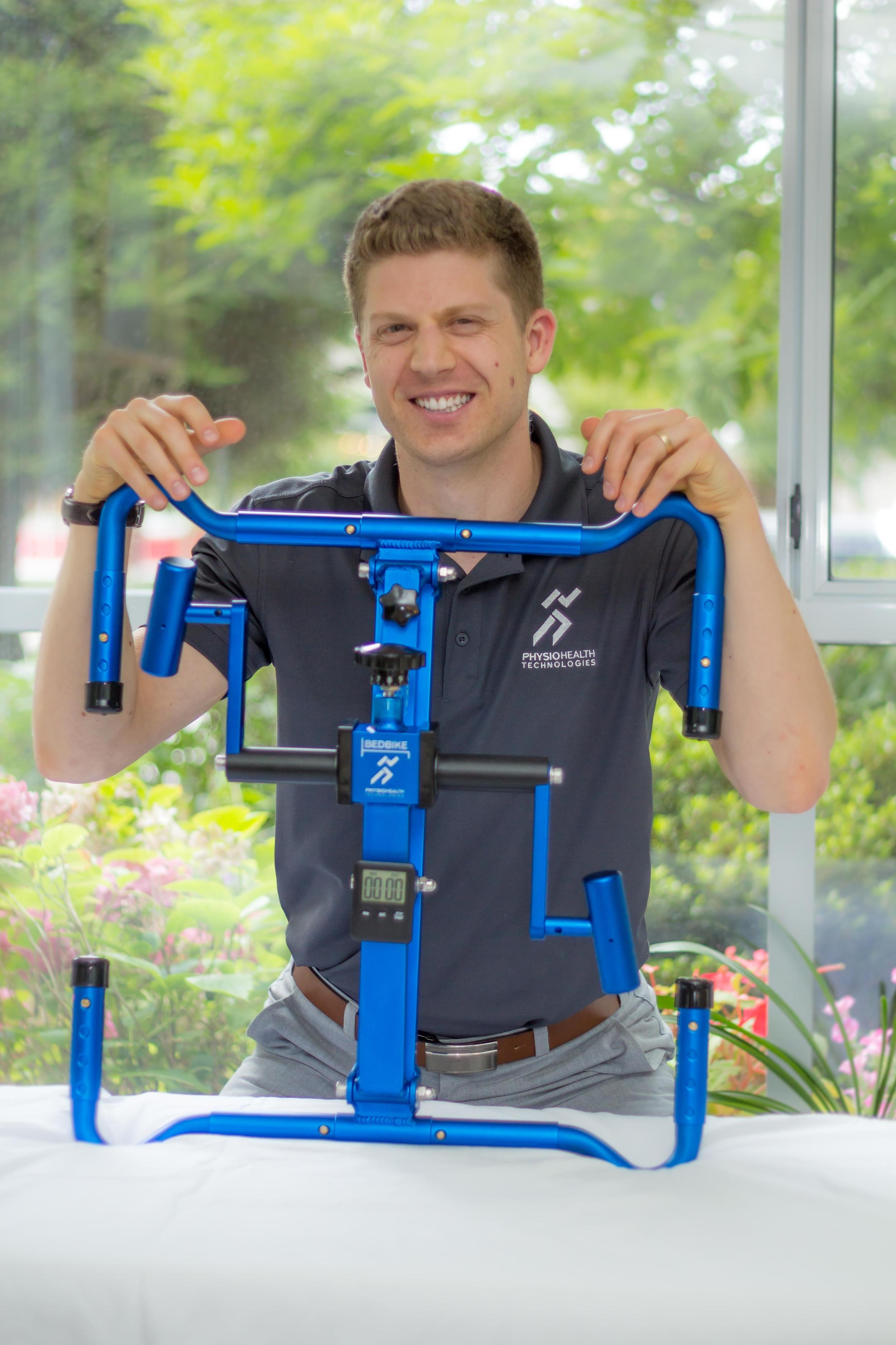 Kyle Freedman, inventor of BedBike, a portable arm ergometer