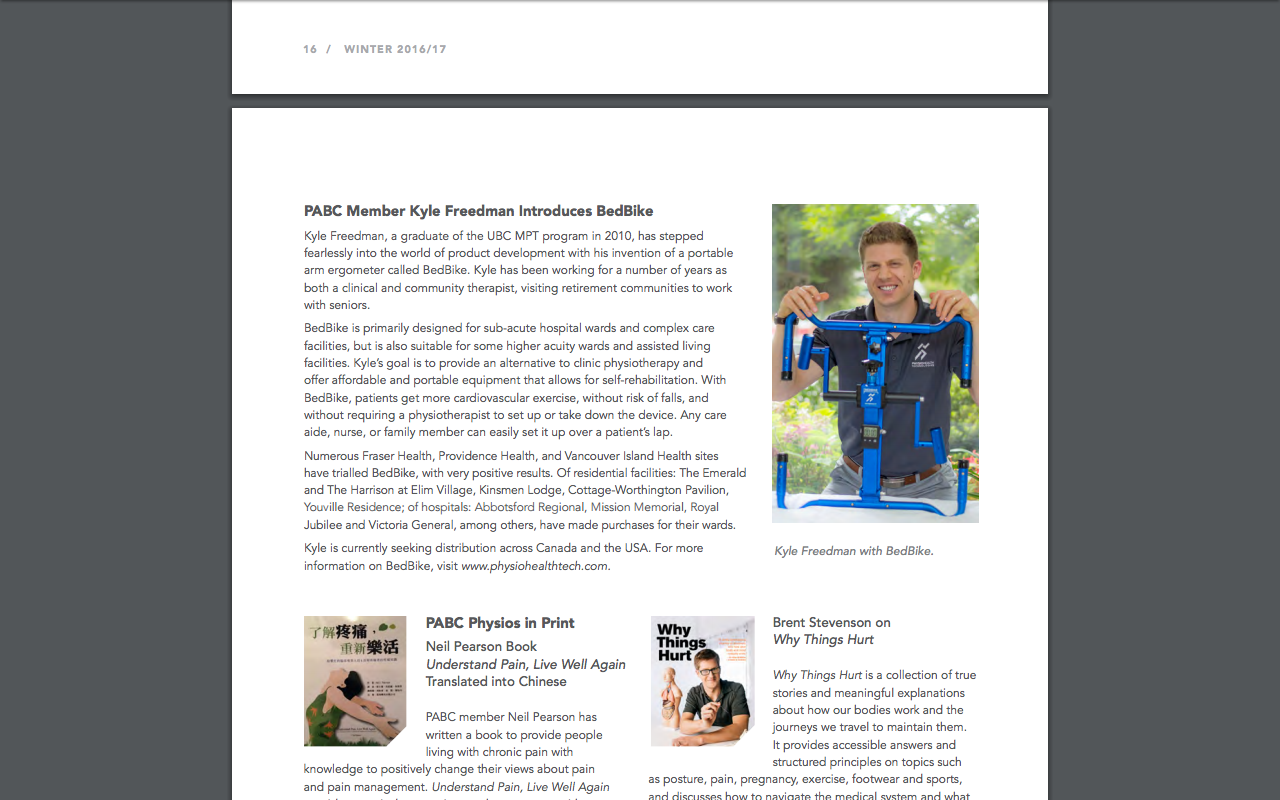 PABC Member Kyle Freedman Introduces BedBike - Published February 2017Physiotherapy Association of British ColumbiaDirections Magazine
