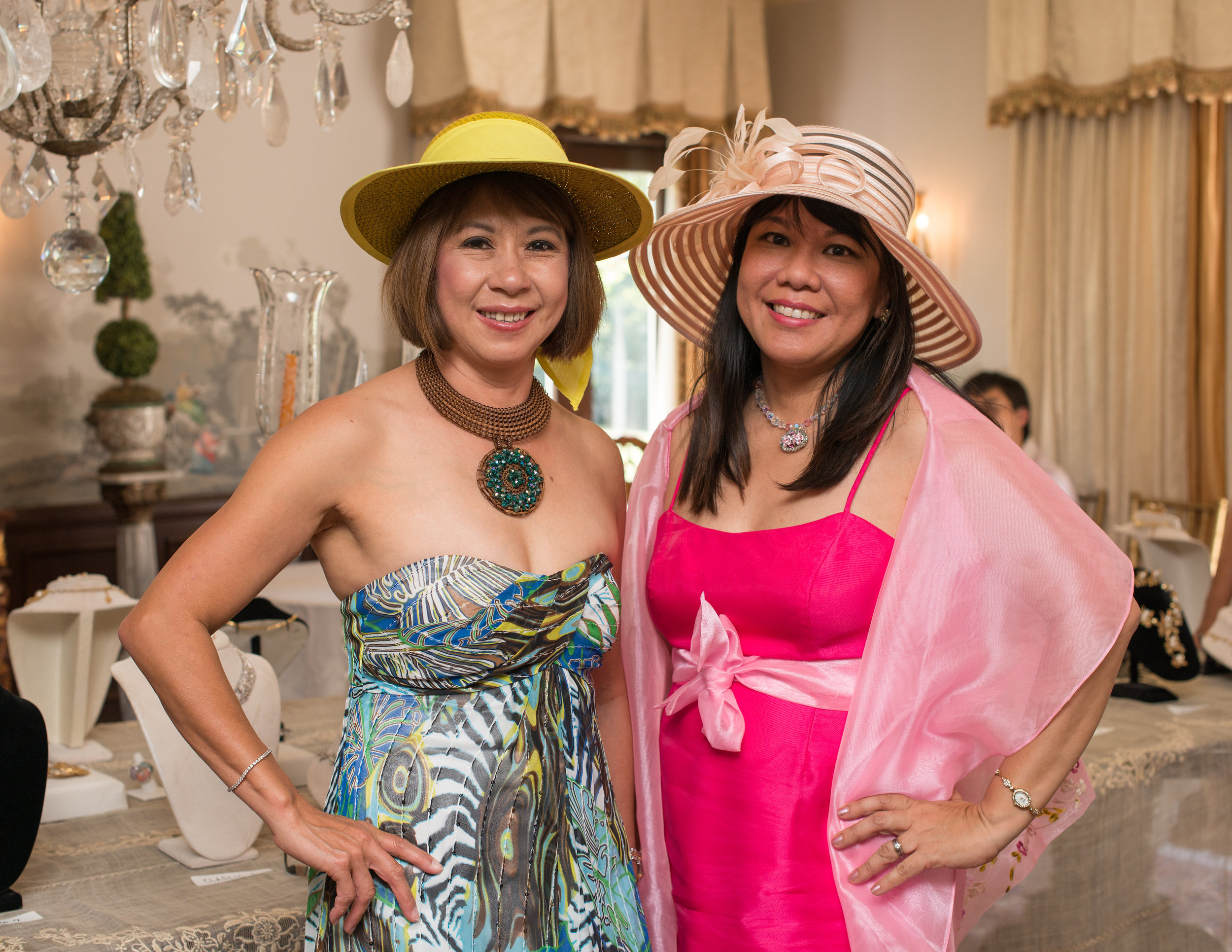 Tea party attendees in lovely summer hats
