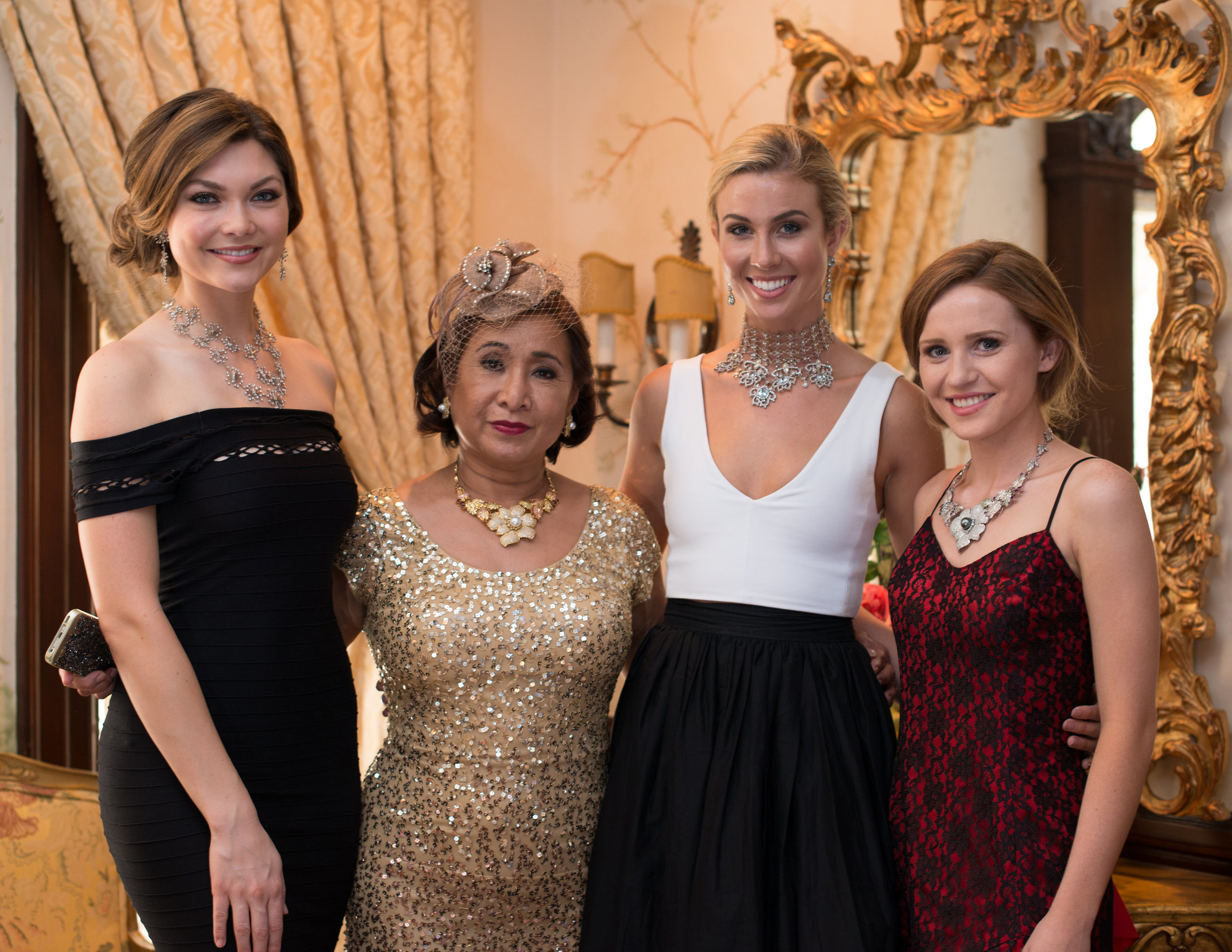 Ramona Haar with models (Miss Earth 2015, Miss Earth 2014, and another model)
