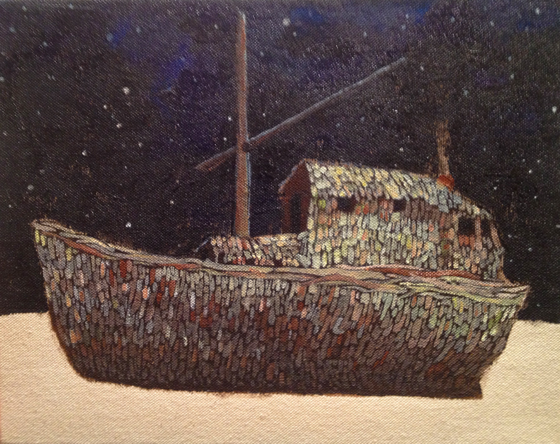 "Ship of Glass    Acrylic on canvas  8"" x 10""  2012  (sold)"
