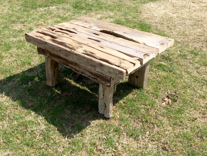 "Sensei Table    driftwood and vintage upholstery tacks  18"" x 35"" x 26""  2014  (available)"