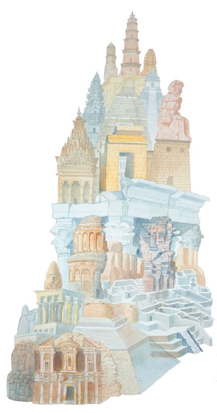 "Tower of Babel    watercolor on paper  24"" x 10""  2012  (sold)"