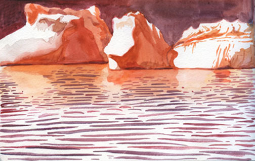 "Warm Icebergs    watercolor on paper  6"" x 9""  2009  (available)"
