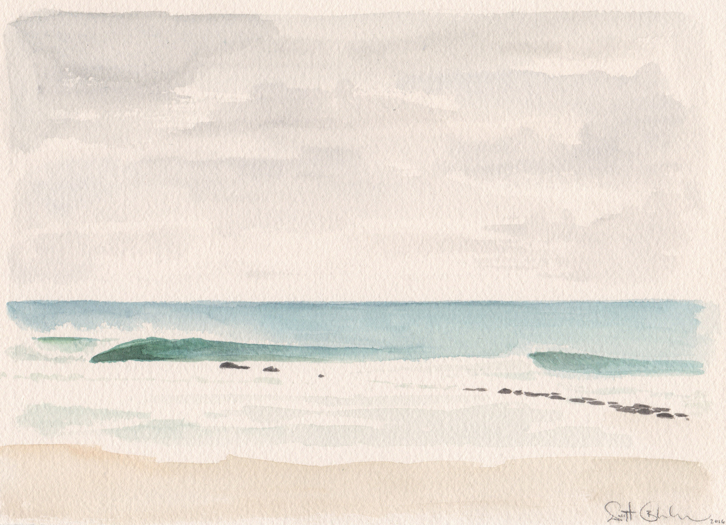 "First Jetty Lefts    watercolor on paper  7"" x 11""  2016  (available)"