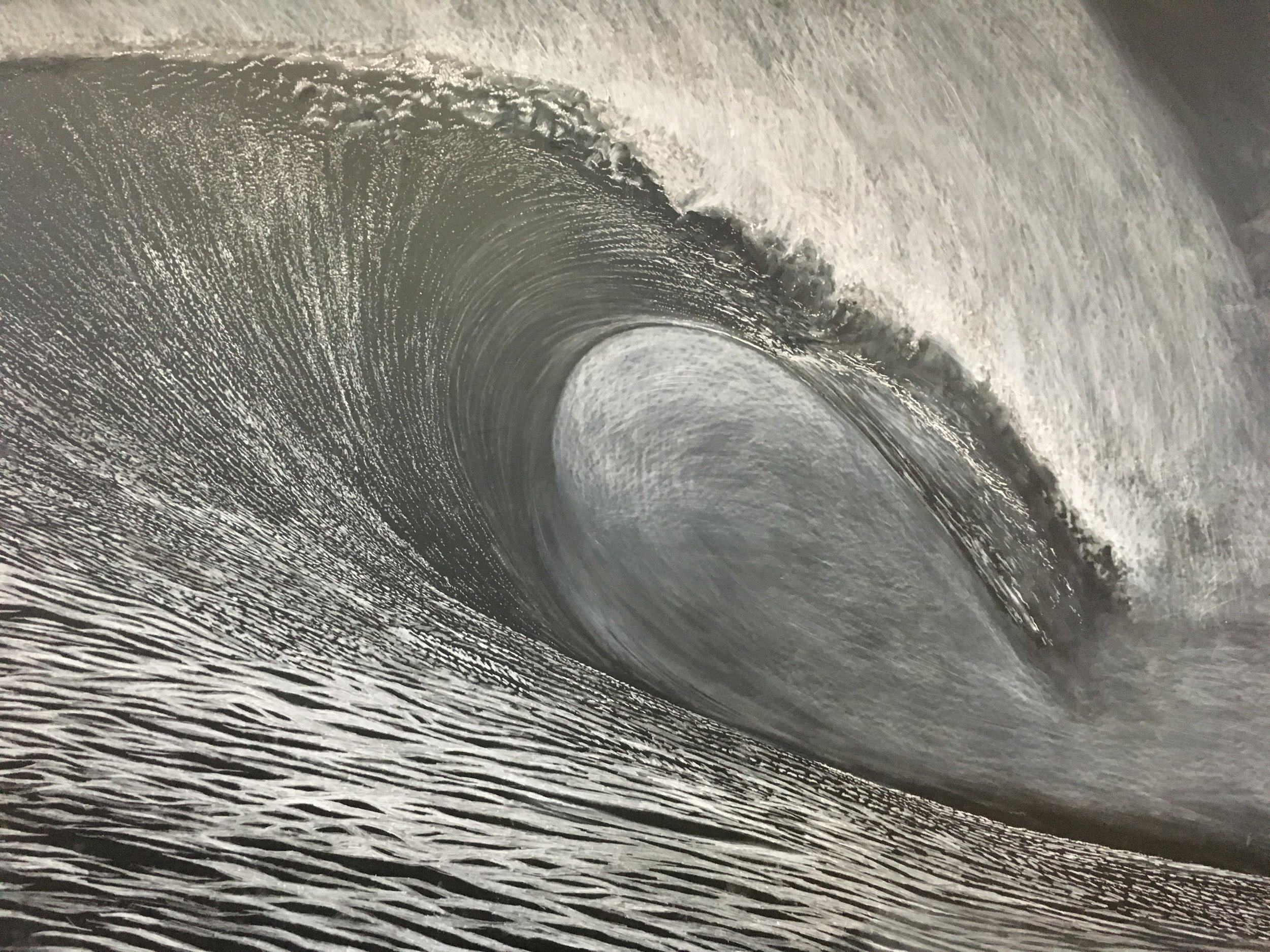 """Great Wave    conte on foamcore  48"""" x 64""""  2017  (Available as an archival digital giclee print on cotton rag paper, 16"""" x 20"""", edition of 50)  (original sold)"""