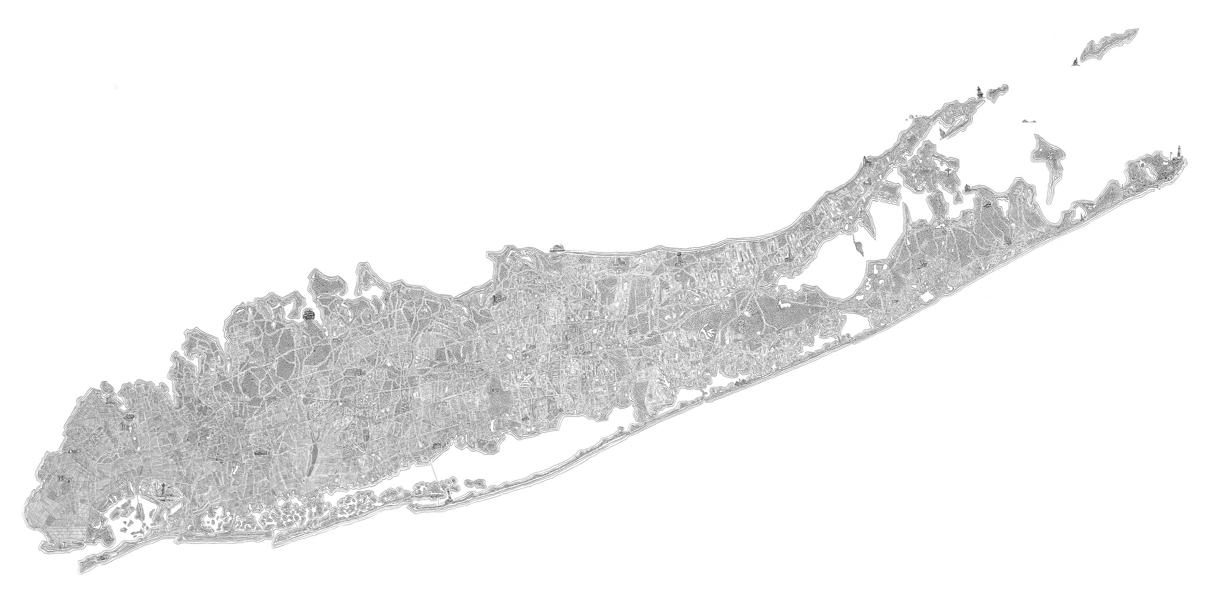 """Long Island    ballpoint pen on paper  24"""" x 48""""  2017  (sold)  (archival digital print available, 12"""" x 24"""", edition of 100)"""
