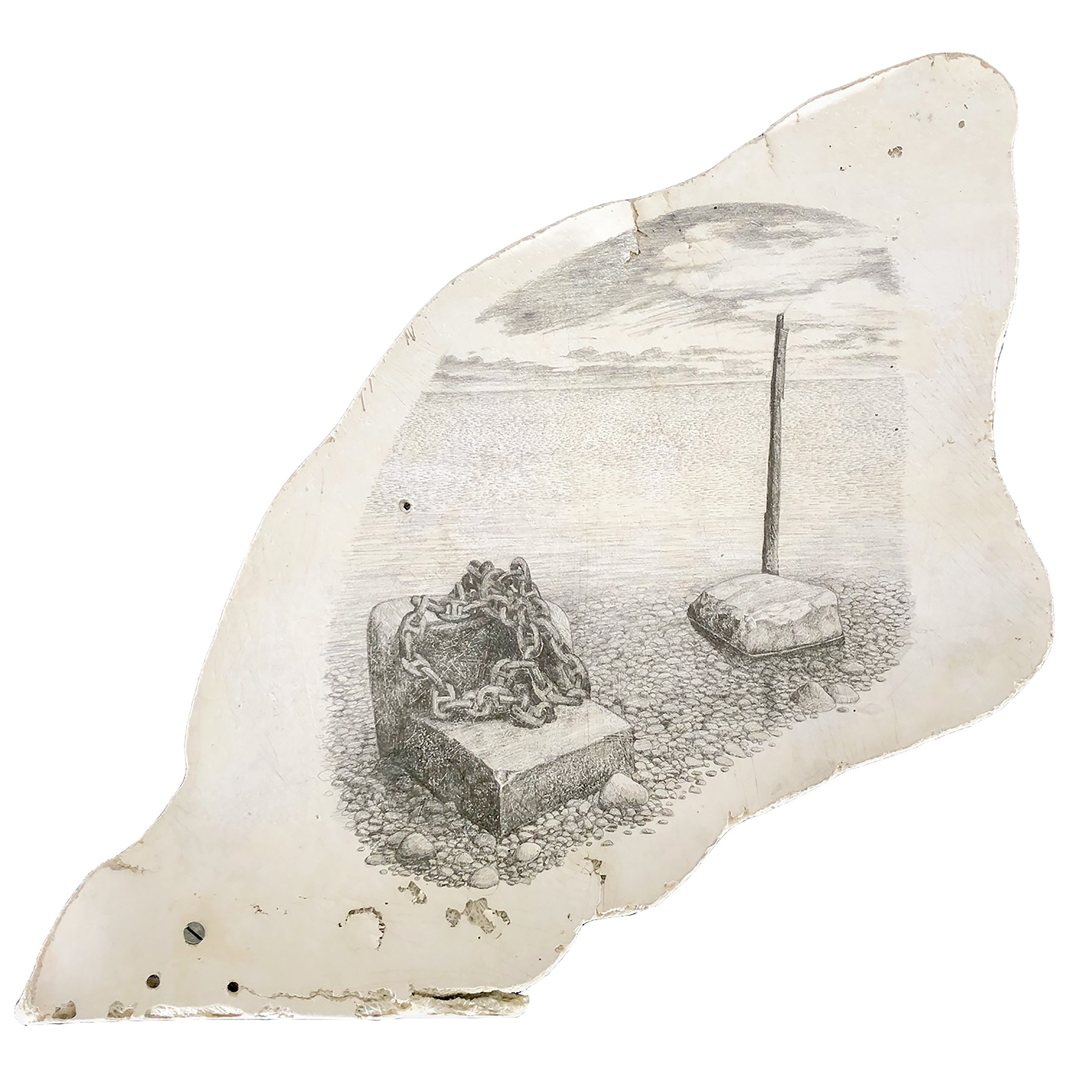 """Sea/Sky II    graphite on found fiberglass boat fragment  approx. 20"""" x 18""""  2018  (available)"""