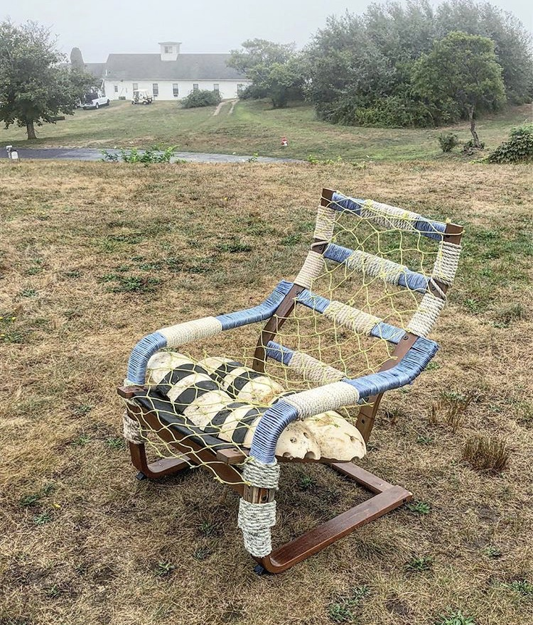 "Cuttyhunk Chair    reclaimed chair frame, buoys, warp line, netting  40"" x 36"" x 30""  2018  (available)"
