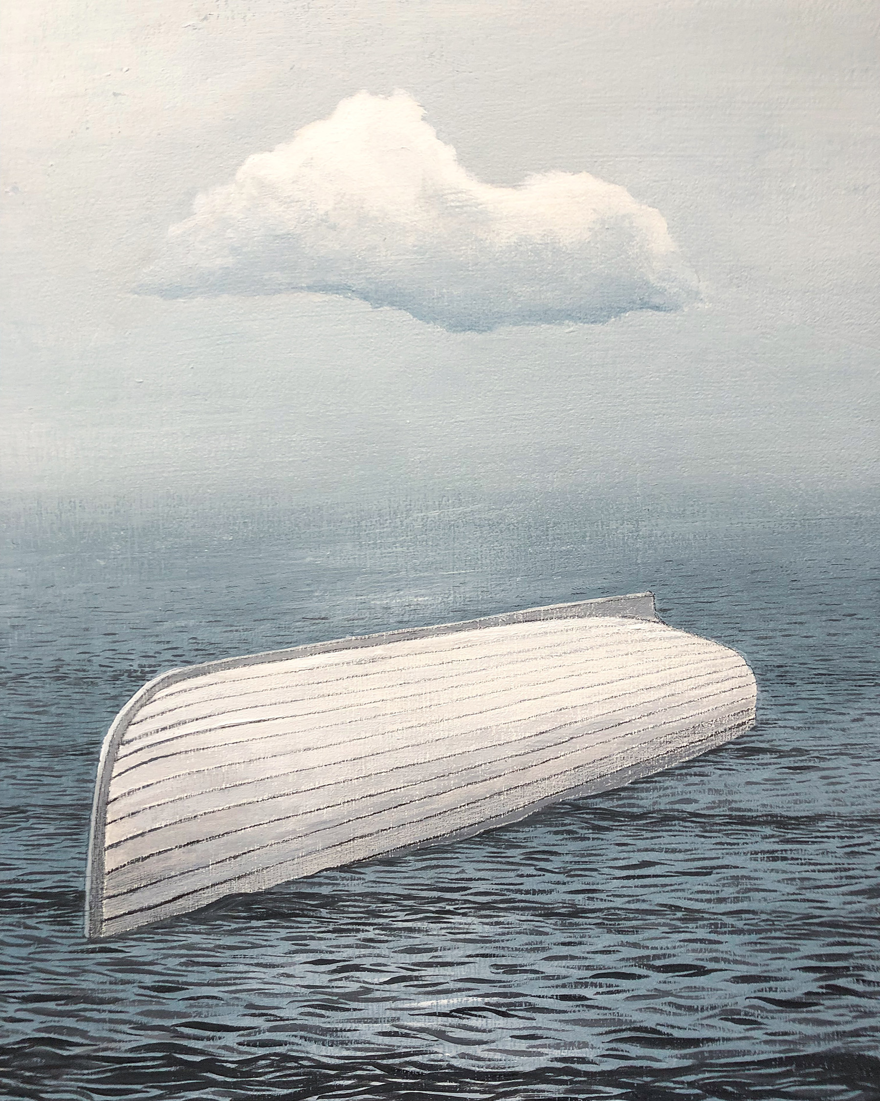 "Capsized    acrylic on wood  10"" x 8""  2018  (available)"