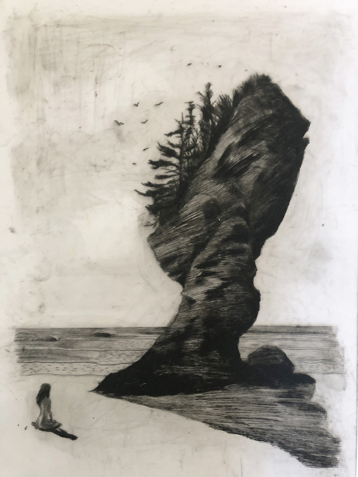 """Siren of the Rock    inked etching on plexiglass  12"""" x 9""""  2018  (available)"""