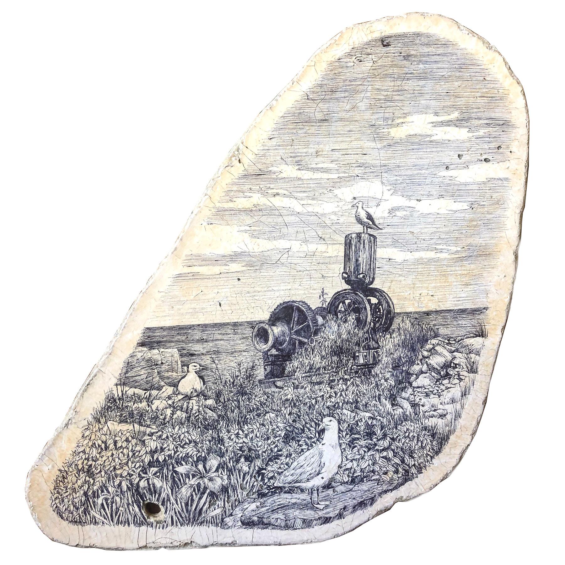 "Isle of Gulls    ballpoint pen on found fiberglass fragment  9.25"" x 10""  2019  (available)"