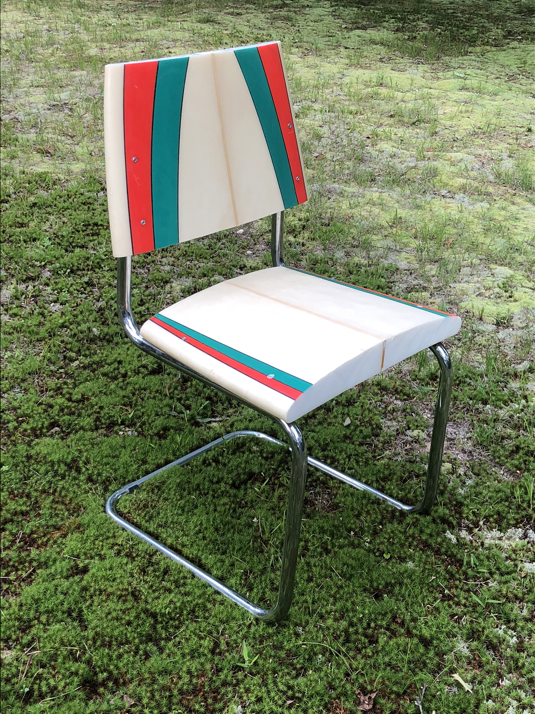 "Flash Chair    reclaimed surfboard, resin, hardware, chair frame  36"" x 24"" x 28""  2019  (sold)"