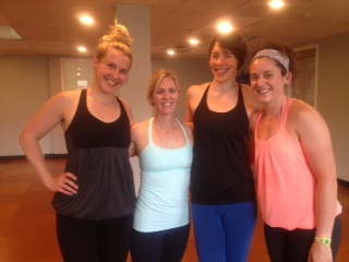 Group shot with the AMAZING Abby from Lululemon Wayne,  and fellow yogi ambassadors Rachael and Carlyn.  Abby did such a stellar job of making us feel comfortable and light and confident. Thanks Abby:)