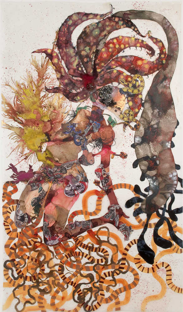 A'gave You , 2008, Mixed media collage on Mylar, 93 x 54 inches. Private collection, New York.